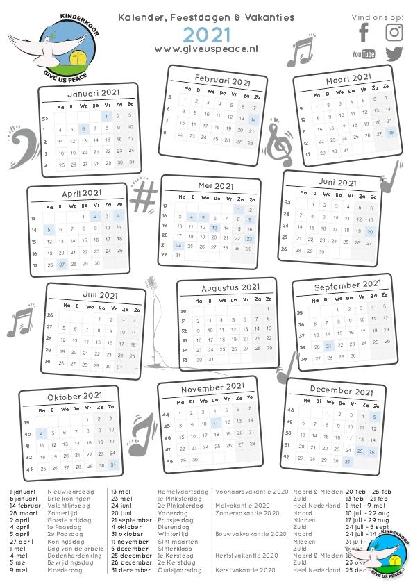 kalender 2021 Kinderkoor Give us Peace