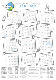 Kalender 2017 – 2018